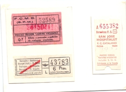 Ticket Treinkaartje Biljet Spoorwegen - Chemins De Fer - Billete Tren - Espagne  San Jose Hospitalet Catalanes 3 Pièces - Chemins De Fer