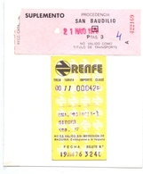 Ticket Treinkaartje Biljet Spoorwegen - Chemins De Fer - Billete Tren - Espagne Renfe 1976 -  2 Pièces - Chemins De Fer