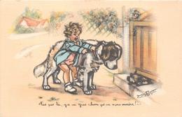 """¤¤  -  Illustrateur """" Germaine BOURET """"  -  Petite Fille Avec Son Chien  -  Saint-Bernard  -  ¤¤ - Bouret, Germaine"""