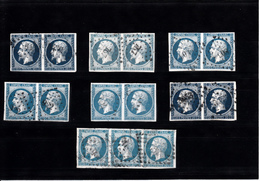 FRANCE  N° 14   6 PAIRES + 1 BANDE DE 3  TBE - 1853-1860 Napoleon III