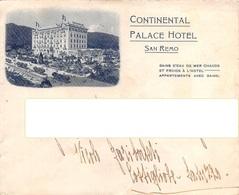"""DD8033 """"BUSTA CON INTESTAZIONE DEL CONTINENTAL PALACE HOTEL DI SAN REMO (IM)""""  ORIG. - War, Military"""