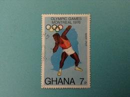 1976 GHANA FRANCOBOLLO USATO STAMP OLYMPIC GAMES MONTREAL 7p - Ghana (1957-...)