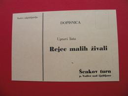 DOPISNICA Upravi Lista Rejec Malih Zivali.Senkov Turn P.Vodice Nad Ljubljano - Cheques & Traverler's Cheques