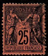 SAGE N° 91a  25 C. NOIR SUR ROUGE     OBLITERE CAD   TB - 1876-1898 Sage (Type II)