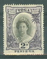 Tonga: 1920/35   Queen Salote  SG57d   2d   Black & Deep Purple  MH - Tonga (...-1970)