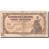 Billet, Espagne, 5 Pesetas, 1937, 1937-07-18, KM:106a, B - 5 Pesetas