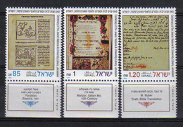 Israel 1992 Centenary Of Jewish National & University Library, Jerusalem  Y.T. 1181/1183 ** - Unused Stamps (with Tabs)