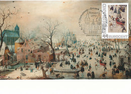 D34570 CARTE MAXIMUM CARD 2013 NETHERLANDS - AVERCAMP WINTER LANDSCAPE SKATING - SPEC. POSTMARK CP ORIGINAL - Winter (Other)