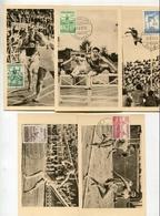 !!! SERIE CHAMPIONNATS D'EUROPE D'ATHLETISME SUR CARTES MAXIMUM CACHETS DE 1950 - Maximumkarten (MC)