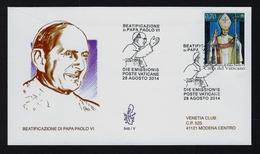 """2014 VATICANO """"BEATIFICAZIONE PAPA PAOLO VI"""" FDC VENETIA - FDC"""