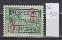 35K533 / 1938 0.30 + 0.30 - LION ANIMAL , ANVERS , Revenue Fiscaux Steuermarken Fiscal , Belgique Belgium Belgien Belgio - Revenue Stamps