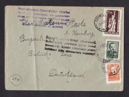 Poland: Cover To Germany, 1950, 3 Stamps, Statue, 2x Propaganda Cancel Anti Nuclear War (minor Damage) - 1944-.... Republik