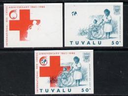 2256 Tuvalu 1988 Red Cross 50c U/m Set Of 3 Progressive Proofs Comprising The 2 Individual Co (medical Nurses) - Tuvalu