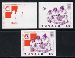 2255 Tuvalu 1988 Red Cross 60c U/m Set Of 3 Progressive Proofs Comprising The 2 Individual Colours Plus(medical Nurses) - Tuvalu