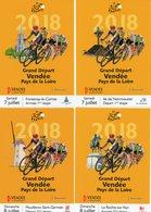 VENDEE : CYCLISME Série De 4 CARTES POSTALES GRAND DEPART DU TOUR DE FRANCE 2018 - Cyclisme