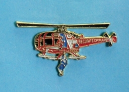 1 PIN'S //  ** HÉLICOPTÈRE / ALOUETTE III. / HÉLITREUILLAGE SÉCURITÉ CIVILE ** . (Alpes Trophées) - Airplanes