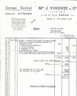 FACTURE AGENCE CITROEN MME J VINOUZE REDON GARAGE CENTRAL 30 OCTOBRE 1957 - France