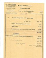 FACTURE LES GARAGES TOMINE RENNES MME JOYEUX GERMAINE REDON 8 JANVIER 1957 - Frankrijk