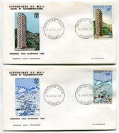 RC 9669 MALI JEUX OLYMPIQUES DE GRENOBLE 1968 PISTE DE SKI ET UNE DES 3 TOURS 1er JOUR FDC TB - Mali (1959-...)
