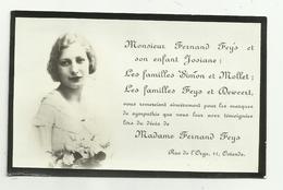 Doodsprentje / Bedanking  *  Madame Fernand Feys (familles Simon, Mollet, Feys, Deweert , Oostende - Godsdienst & Esoterisme