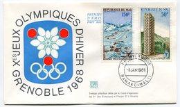 RC 9670 MALI JEUX OLYMPIQUES DE GRENOBLE 1968 PISTE DE SKI ET UNE DES 3 TOURS 1er JOUR FDC TB - Mali (1959-...)