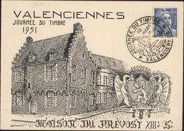 Valenciennes Journée Du Timbre 1951 Maison Du Prévost XIII Siècle CAD Illustré Train Postal YT 718 A Marianne Gandon - Postmark Collection (Covers)