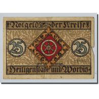 Billet, Allemagne, Heilingenstadt, 25 Pfennig, Personnage, 1918, SPL - Other