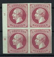 Hannover 14 A Viererblock SR Mit Bogennummern 7 Und 8 *, Gepr. Berger - Hannover