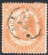 1868 TIMBRE-TELEGRAPHE N° 7a  1f. ORANGE CLAIR OB. NICE 4/08/1870 TB - Telegraph And Telephone
