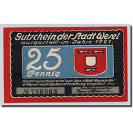 Billet, Allemagne, Wesel, 25 Pfennig, Bateau, 1921, SPL - Other