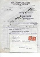 """08 - Ardennes - GIVET - Facture LES FORGES DE CINEY - Appareil De Chauffage """"CINEY"""" - 1942 - REF 96A - France"""