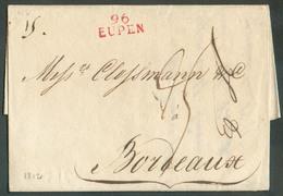 LAC De 96/EUPEN (griffe Rouge) Le 17 Novembre 1812 Vers Bordeaux.  TB Frappe  - 12928 - 1794-1814 (French Period)