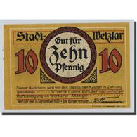 Billet, Allemagne, Wetzlar, 10 Pfennig, Usine, 1922, 1922-09-14, SPL - Other