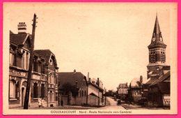 Gouzeaucourt - Route Nationale Vers Cambrai - L'Eglise - Familistère - Vieille Voiture - Animée - Edit. LUCIEN POLLET - Marcoing