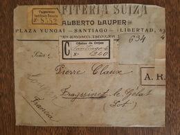 Santiago Chile Plaza Yungai (Libertad) Chili - 1904 Pour Frayssinet Le Gélat  Recommandé Accusé De Réception Valparaiso - Chili