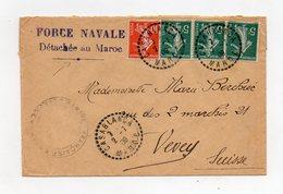 !!! PRIX FIXE : FORCE NAVALE DETACHEE AU MAROC, LETTRE DE CASABLANCA DE 1909 POUR LA SUISSE - Marokko (1891-1956)