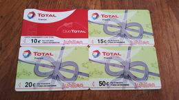 4 CARTES CARBURANT TOTAL JUBILEO 10 15 20 ET 50 € UTILISEES - Autres Collections