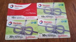 4 CARTES CARBURANT TOTAL JUBILEO 10 15 20 ET 50 € UTILISÉES - Other