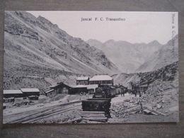 Tarjeta Postal Chile Chili - Juncal F. C. Trasandino - Train Locomotive Gare Station - Hume & Co Santiago - Chili