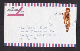 Tonga: Airmail Cover To USA, 1970s, Odd-shaped Stamp, Pacific Games, Athletics, Sports, Rare Real Use! (roughly Opened) - Tonga (1970-...)