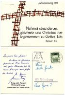 Germany, West 1971 Postcard Bible Quote From Romans 15:7, Nürnberg Cancel - Christianity
