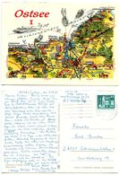 Germany, East 1983 Postcard Ostsee - Illustrated Map, To Schwanstetten - Maps
