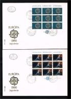 1980 - Jugoslavia FDC Mi.1828-1829 - 2 Minisheets - Europe CEPT [D19_068] - FDC