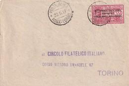 ITALIE 1917 PLI AERIEN VOL ROME- TURIN ET RETOUR - 1900-44 Victor Emmanuel III