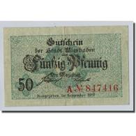 Billet, Allemagne, Wiesbaben, 50 Pfennig, Graphique, 1919, SPL - Other