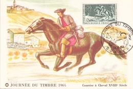 """Carte Postale Du 4 Mars 1964 à Donnery """" Journée Du Timbre 1964 Courrier à Cheval """" - Marcophilie (Lettres)"""