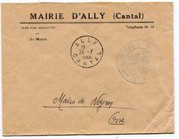 CANTAL De ALLY Env. à En Tête De La Mairie Avec Dateur A 8   Du 26/07/1960 - 1961-....