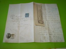 LAC Vizille Isère Pour Triors Drôme,1881,15 C Sage, Cachet St Paul Les Romans Sur Reçu Postal + Timbre Fiscal 10c - Storia Postale