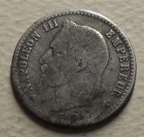 1867 - France - 50 CENT., NAPOLEON III, (A), Tête Laurée, Argent, Silver, KM 814.1, Gad 417 - France