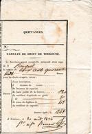 Août 1836 - FACULTÉ DE DROIT De TOULOUSE - Reçu De 248 Francs Pour La Licence, Le Certificat D'Aptitude Et De Capacité - Documents Historiques